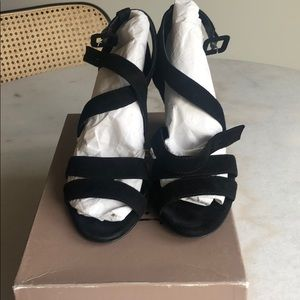 J.Crew Suede Black Wedge Sandals-Size 7.5